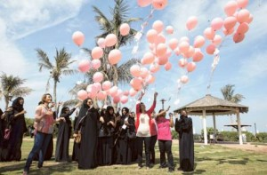 100 balloons released in Dubai for breast cancer awareness