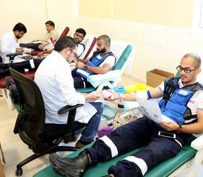 Paramedics donate blood as part of drive